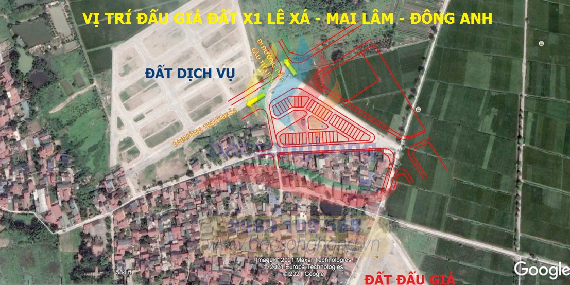 Vị tríđất X1 Lê Xá Mai Lâm Đông Anh gần đường dẫn cầu Tứ Liên và đường Trường Sa
