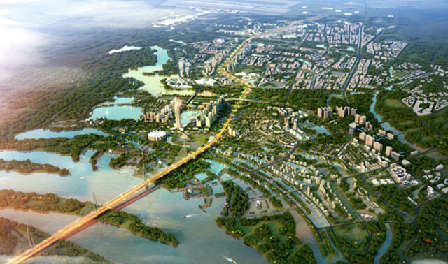 Khu vực quy hoạch dự án thành phố thông minh bắt đầu từ ngã tư đường Võ Nguyên Giáp và đường 5. Sau đó kéo dài 11km về phía sân bay Nội Bài.