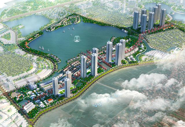 Phối cảnh tổng thể hai bên đường trục của khu đô thị trong tương lai. Dự kiến dự án này sẽ triển khai theo 5 giải đoạn và hoàn thành vào năm 2028.