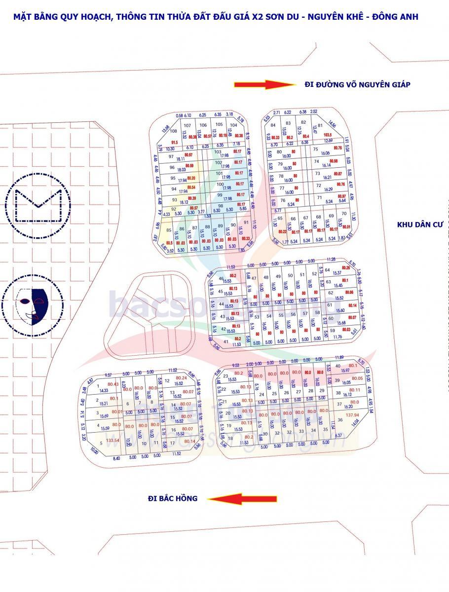 Mặt bằng quy hoạch, thông tin thửa đất X2 Sơn Du - Nguyên Khê - Đông Anh