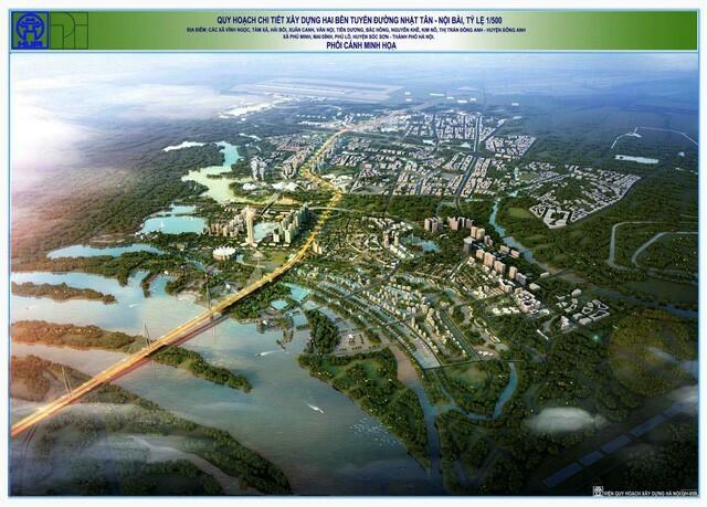 Hình ảnh phối cảnh tổng thể toàn dự án thành phố thông minh BRG Đông Anh – hai bên trục đường Nhật Tân – Nội Bài.