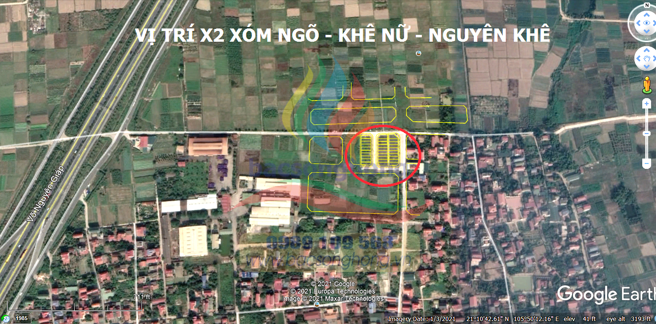 Vị trí đất X2 Xóm Ngõ - Khê Nữ - Nguyên Khê