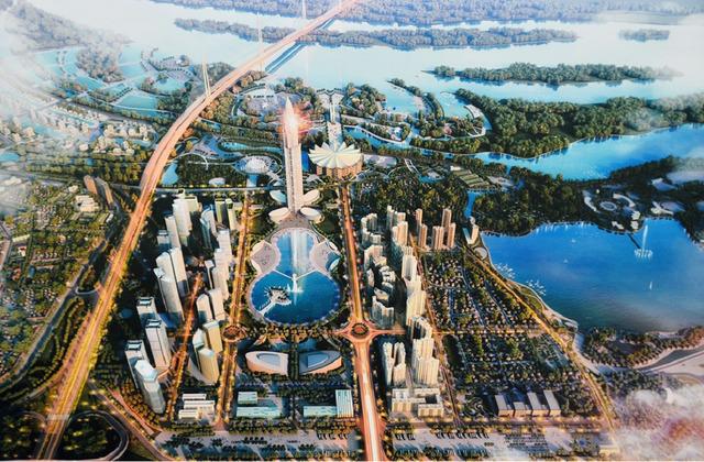 Điểm nhấn của thành phố thông minh là tòa tháp cao 108 tầng, nằm ngay điểm đầu vào cửa ngõ Thủ đô và nhìn về hướng cầu Nhật Tân