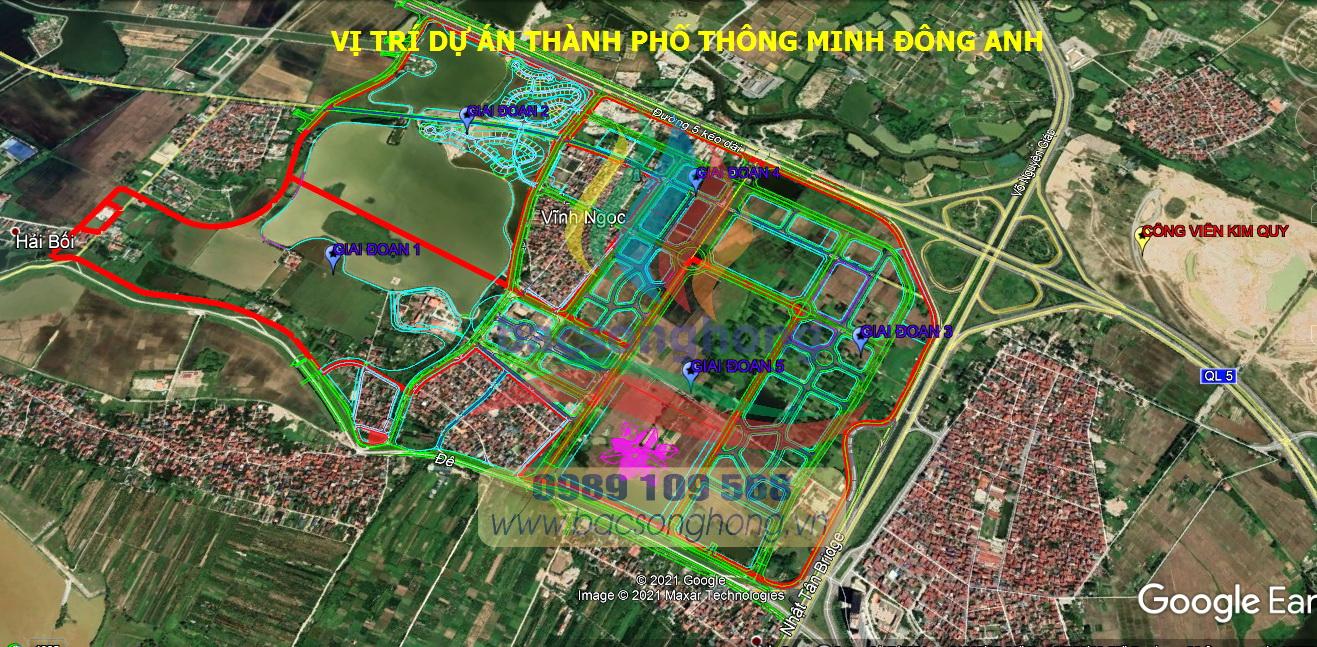 Vị trí thành phố Thông Minh Đông Anh